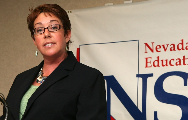 Nevada State Education Association president Lynn Warne, shown in this 2007 file photo, will be replaced in July by Ruben Murillo Jr. Warne has served the maximum six years as president of the tea ...
