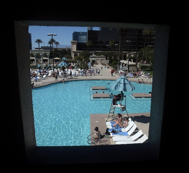 A window frames the pool at Luxor, 3900 Las Vegas Boulevard South, on April 23. The Las Vegas forecast calls for temperatures in the high 80s to low 90s over the next few days.