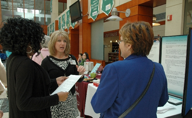 Andrea Vassel of Mary Washington Healthcare explains the benefits of an advance directive at Mary Washington Hospital in Fredericksburg, Va., as part of National Healthcare Decisions Day on April  ...