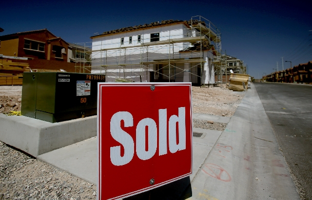 Homes at Villa Trieste located in Summerlin Centre Village are seen in April. San Francisco-based Trulia said in a Tuesday report that local home prices are 24 percent below what's justified by ma ...