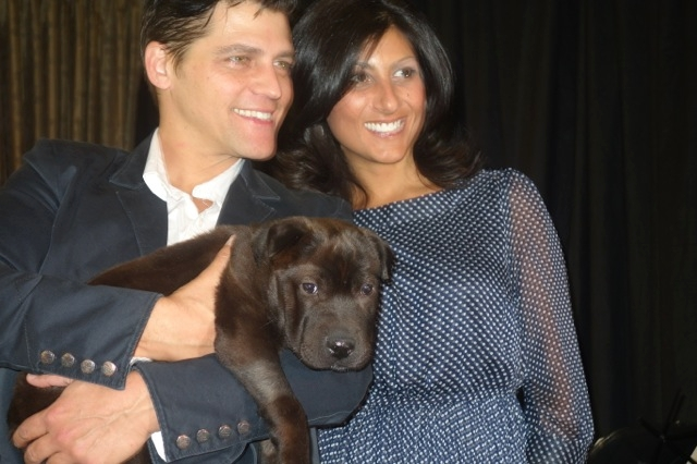 """Jersey Boys"" actor Deven May, left, and former KLAS-TV morning anchor Dayna Roselli show off Mike, a rescued Shar-Pei."