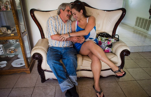 James Flavy Coy Brown shares a tender moment with his daughter, Shotzy Brown Harrison. In this April 11 photo, she had just arrived at a boarding home to take him to live with her family back in N ...