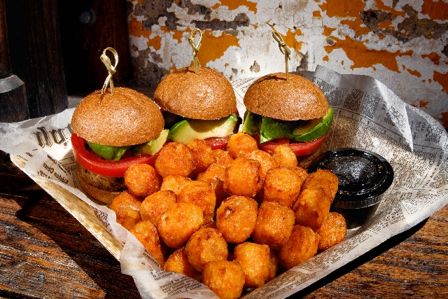 The very veggie sliders are served at Park on Fremont restaurant at 506 Fremont St. Ingredients are homemade pickles and avocado on wheat topped with a light citrus vinaigrette and served with swe ...