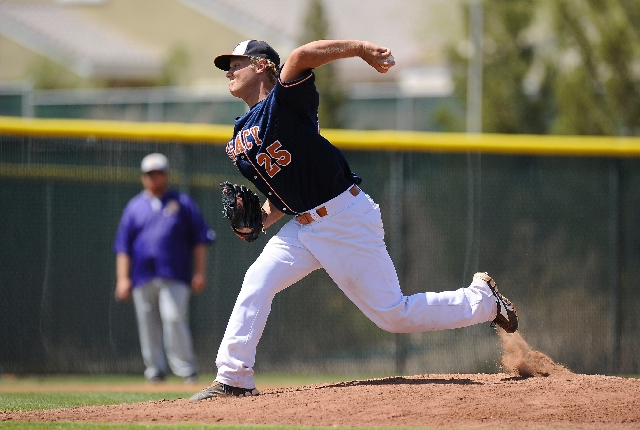 Legacy pitcher Colton Malich delivers in the Longhorns' 7-5 win over Durango on Saturday. He shut out the Trailblazers for five innings.