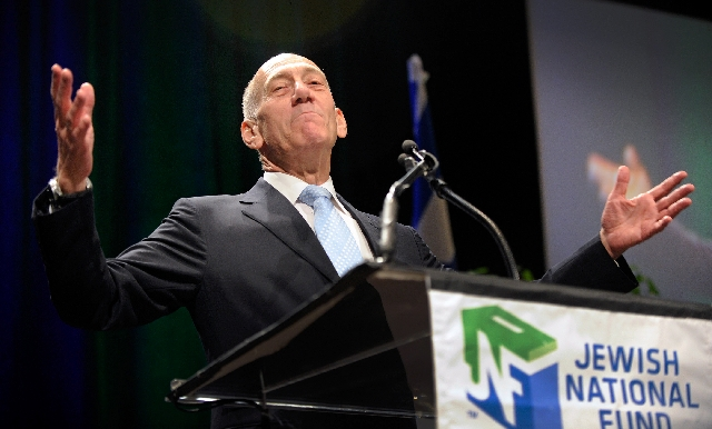 Former Israeli Prime Minister Ehud Olmert, who in that post served from 2006 to 2009, speaks Sunday at Red Rock Resort during the Jewish National Fund's summit on sustainability issues, such as fo ...