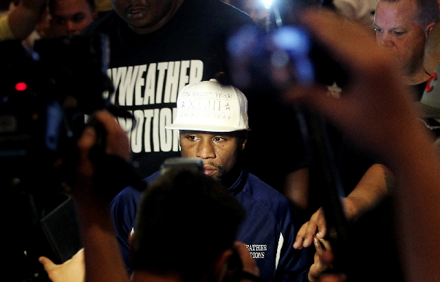 Boxer Floyd Mayweather Jr. arrives at the MGM Grand in Las Vegas on Tuesday.