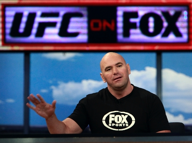Dana White, UFC president, on Aug. 18, 2011, when he announced a multi-year, multi-platform agreement between Ultimate Fighting Championship (UFC) and Fox Media Group. UFC has launched a bold TV i ...