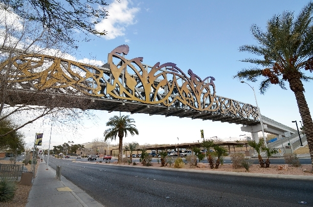 """Vegas Arabesque,"" a pedestrian bridge adorned with a design by Denver-based artist David Griggs, is shown in the 800 block of North Las Vegas Boulevard."