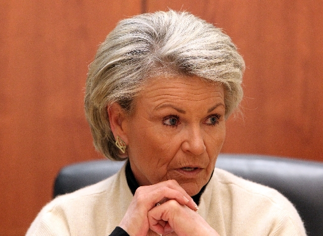Southern Nevada Water Authority general manager Pat Mulroy speaks to the Las Vegas Review-Journal editorial board in March.