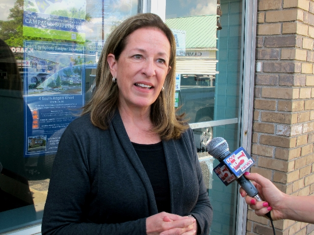 Elizabeth Colbert Busch speaks with reporters outside a diner in Mount Pleasant, S.C., on April 17, 2013.
