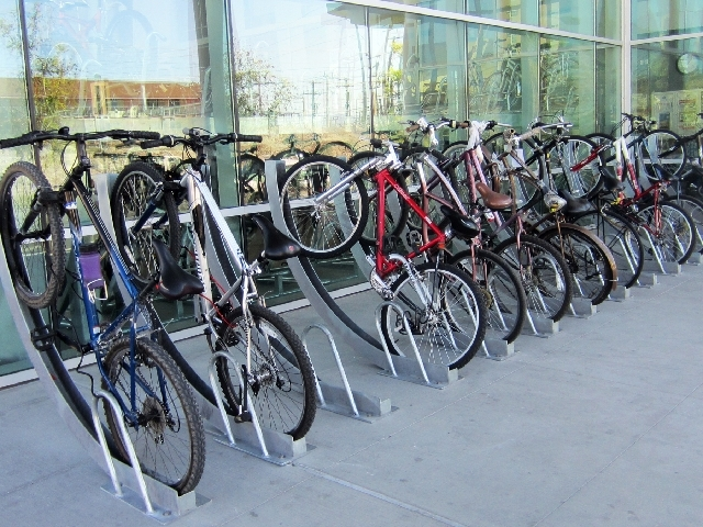 More than 30 new bike racks, like these in front of Las Vegas City Hall, are planned throughout downtown.