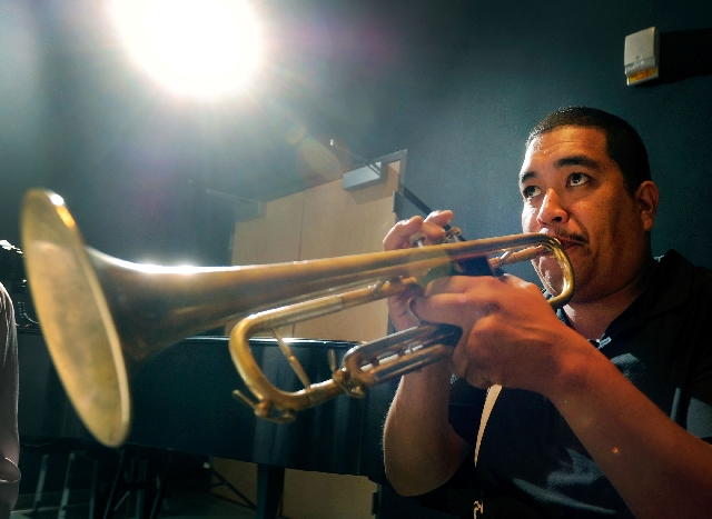 Daniel Valdez plays his trumpet at a rehearsal of the mariachi ensemble class at the College of Southern Nevada's Cheyenne campus.