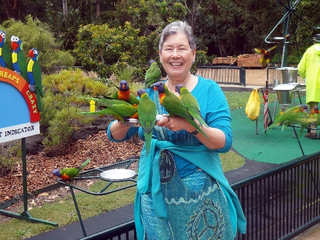 Judy Davis feeds lorikeets Feb. 25 at the Currumbin Wildlife Sanctuary in Australia. The trip was one of those she and her husband, Floyd, took as part of Friendship Force International. The Davis ...