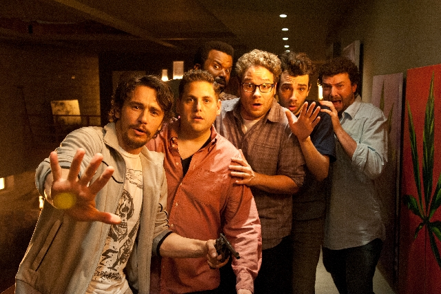 """From left, James Franco, Jonah Hill, Craig Robinson, Seth Rogen, Jay Baruchel and Danny McBride in """"This Is the End."""""""
