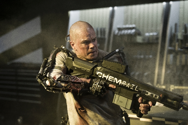 """A dying man (Matt Damon) forces his way onto a space retreat reserved for the rich to save millions of lives in """"Elysium."""""""