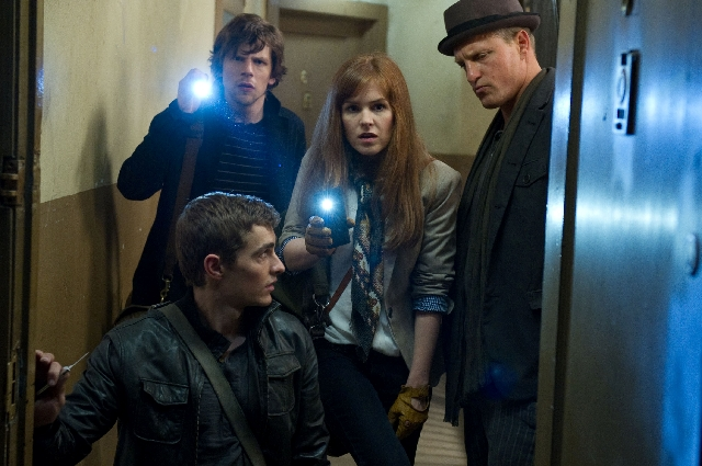 """Clockwise from bottom, Dave Franco, Jesse Eisenberg, Isla Fisher and Woody Harrelson star in """"Now You See Me."""""""
