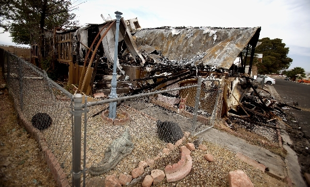 Three children, three adults and three dogs were displaced by the early morning April 30 fire in a manufactured home at 3325 N. Nellis Blvd. in the Carefree Manufactured Home Community.