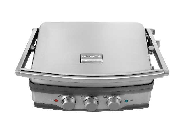 Frigidaire Professional's new 5-in-1 grill and griddle has independent temperature controls allowing you to cook two foods at different temperatures. The grill plates also are reversible and can b ...