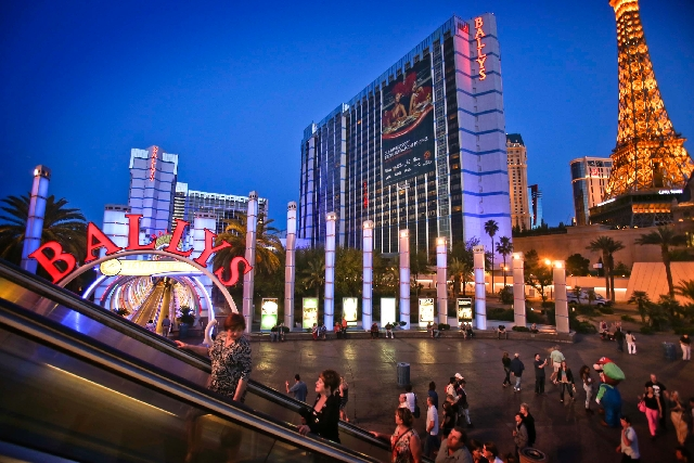 Bally's Las Vegas is seen April 24. Caesars Entertainment, which controls 10 resorts on or near the Las Strip including Bally's Las Vegas, posted a first-quarter decline in overall revenues.