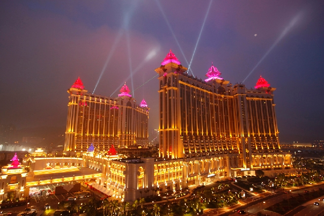 A general view of Galaxy Macau is seen in Macau. Macau gaming revenues for April hit the fourth straight double-digit increase this year.