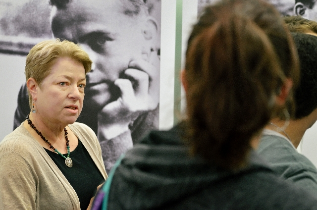 UNLV German language instructor Mary Ashcraft talks with students about White Rose, a student-led Nazi resistance group centered around the University of Munich during World War II.