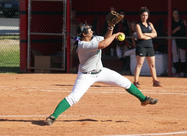 Green Valley pitcher Fenixx Henderson winds up Thursday against Las Vegas as the Gators defeated the Wildcats, 10-1. Henderson allowed just two hits and struck out nine.