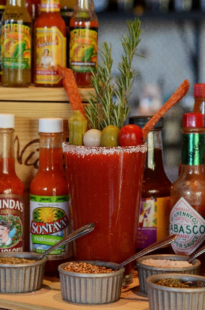 The bloody mary bar at Dom DeMarco's, 8725 W. Charleston Blvd., offers New Amsterdam Vodka - or house tequila for a bloody maria, house scotch for a bloody highlander or Clamato for a bloody Caesa ...