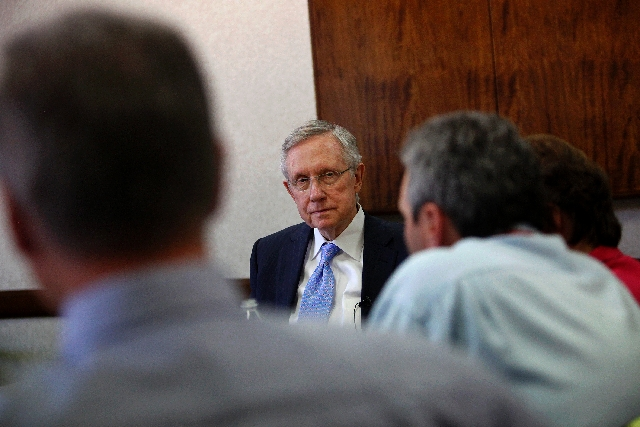 Sen. Harry Reid, D-Nev., answers questions while paying a visit to the Las Vegas Review-Journal on Friday.
