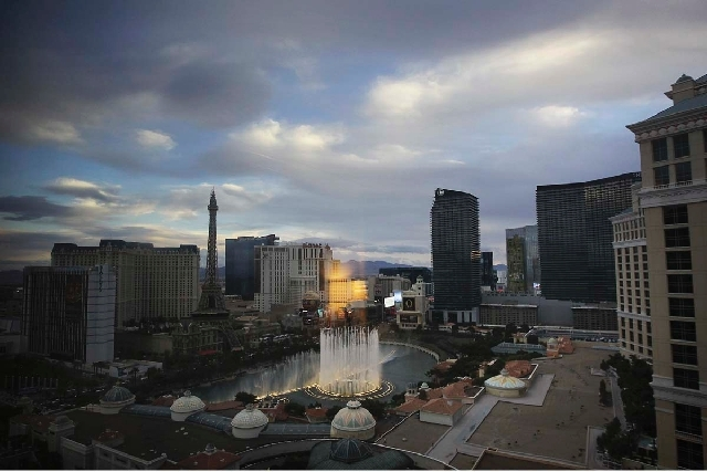 The Bellagio fountain and the Las Vegas Strip are shown in this file photo. Las Vegas was shut out of federal security funding this year after its terrorist risk ranking among cities dropped to 33 ...