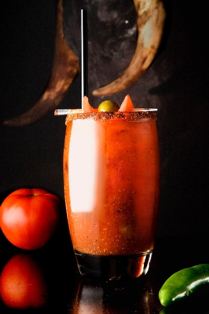 Bloody Maria at Tacos & Tequila in Luxor, 3900 Las Vegas Blvd. South, is made with Corralejo Reposado Tequila, fresh cucumber, chipotle Tabasco sauce and olive juice served with a salted rim and g ...