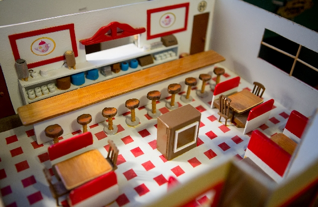 Bill Hornecker built his miniature diner complete with tiny bar stools, counters, tables and chairs.