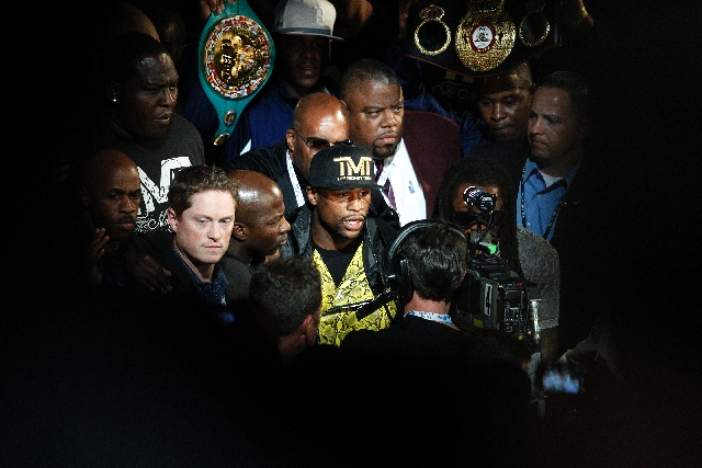 Floyd Mayweather enters the ring before fighting Robert Guerrero in their WBC Welterweight Title bout at the MGM Grand in Las Vegas Saturday.
