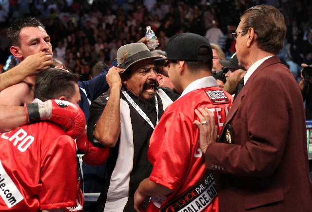 Ruben Guerrero, father of Robert Guerrero, reacts after Floyd Mayweather beat Robert Guerrero by unanimous decision in the  WBC Welterweight Title bout at the MGM Grand in Las Vegas Saturday.
