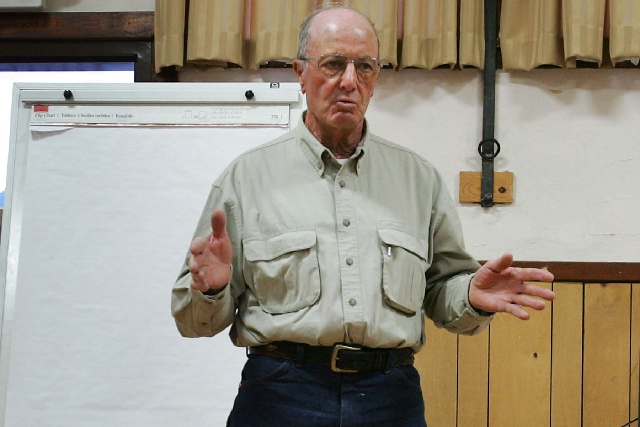 Rancher Dean Baker talks strategy with fellow Snake Valley residents at a 2009 meeting in advance of a hearing on plans to pipe groundwater to Las Vegas from across eastern Nevada.