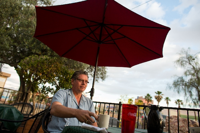 Don Svehla sits on the patio at the Egg & I restaurant.