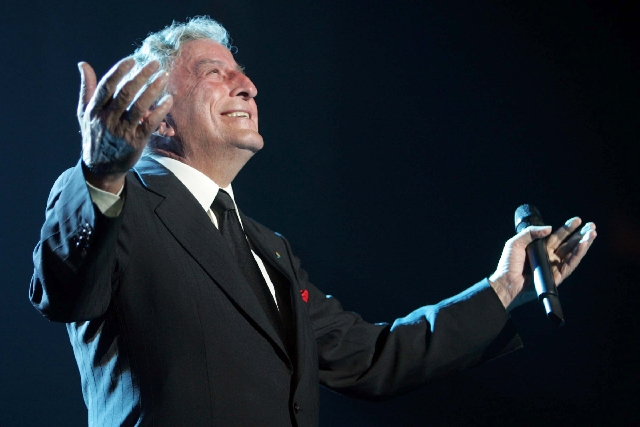 Tony Bennett performs at the 12th annual Andre Agassi Grand Slam for Children benefit at the MGM Grand Garden Arena Saturday, Oct. 6, 2007, in Las Vegas.