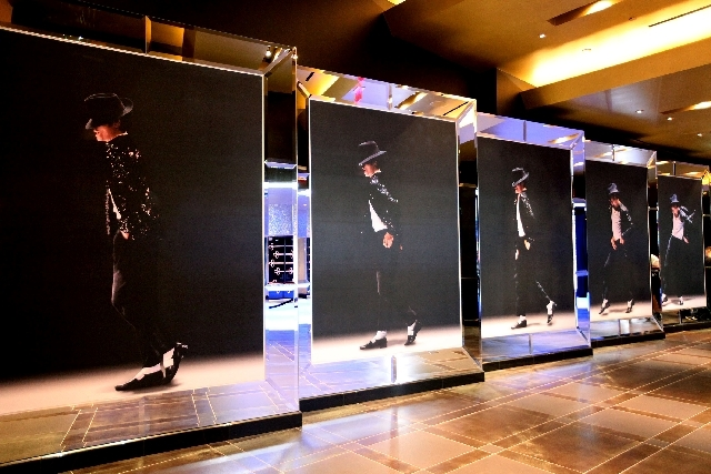 """The hallway leading up to Cirque du Soleil's """"Michael Jackson One"""" show at Mandalay Bay features pictures of Jackson performing."""