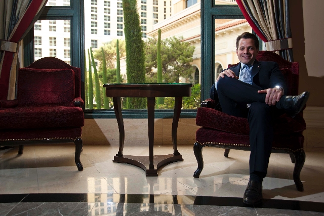 Anthony Scaramucci, managing partner of Skybridge Capital, poses Tuesday for a portrait at Bellagio in Las Vegas. Caramucci is preparing for the SkyBridge Alternatives Conference, his company's an ...