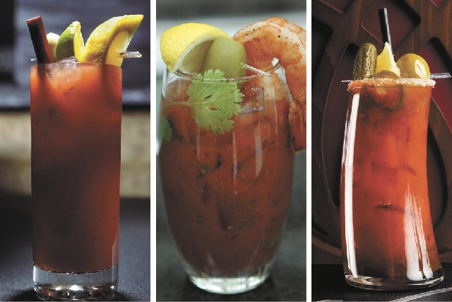 Just a few of the numerous bloody mary options available around town.