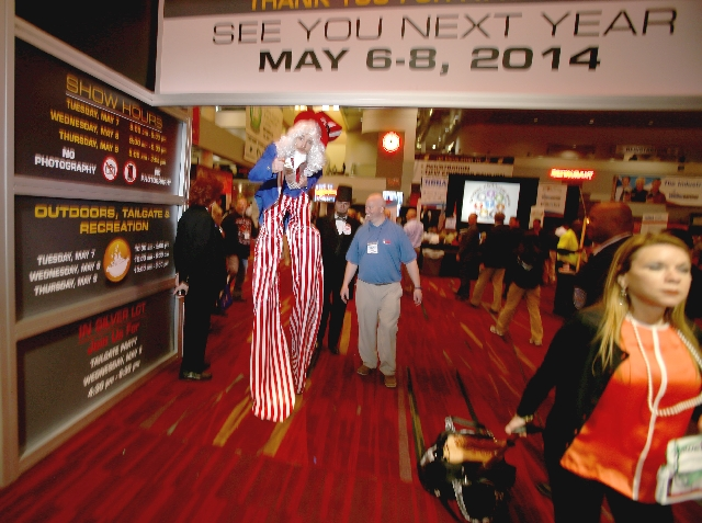 The National Hardware Show could contain tools, but apparently not Uncle Sam's hat, which got knocked off Tuesday at the show inside the Las Vegas Convention Center. The character was working for  ...