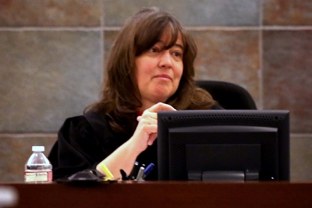 District Court Judge Valerie Adair, shown here during jury selection in April, denied a defense motion for a mistrial in the hepatitis C outbreak trial of Dr. Dipak Desai and nurse anesthetist Ron ...