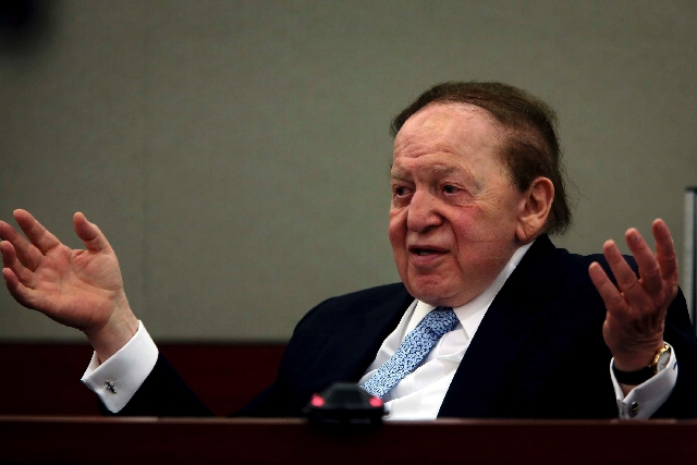 Las Vegas Sands Chairman and CEO Sheldon Adelson testifies Thursday, April 4 , 2013 in Clark County Regional Justice Court. On Wednesday, a jury unanimously determined Richard Suen's efforts to he ...