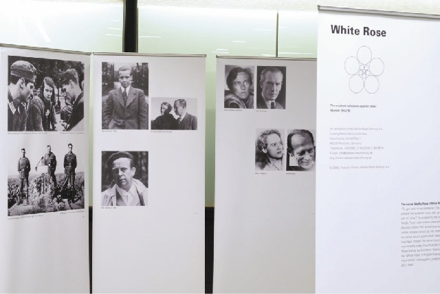 """Panels from """"The White Rose Exhibit,"""" which opens Monday and runs through Aug. 22 at the University of Nevada, Las Vegas' Lied Library, survey the history, members and legacy of White Rose, a grou ..."""