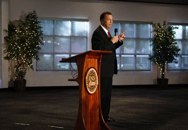 """Jim Livengood speaks at his introductory news conference as UNLV athletic director on Dec. 17, 2009, when UNLV president Neal Smatresk introduced him as """"John."""""""
