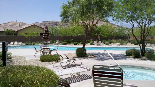 Ryland Homes' Evergreen neighborhood features a pool and spa. It's in Mountain's Edge, a master-planned community in the southwest valley.