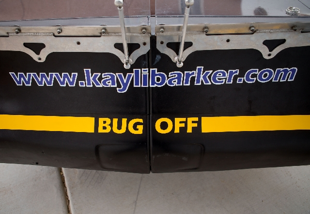 Kayli Barker, 15, received the nickname 'Bug' and played off the name with a sticker on the back of one of her race cars.