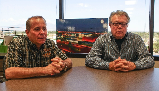 Las Vegas Harley-Davidson Vice President Tim Cashman, left, and President Don Andress said they've been searching for a Strip site for a new dealership for six or seven years. They're projecting a ...