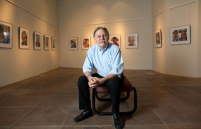 """Lamar Marchese sits in the Rainbow Library's gallery, 3150 N. Buffalo Drive, where his """"Pow Wow Portraits"""" photography exhibit is slated to be on display through July 7. Marchese is best known as  ..."""