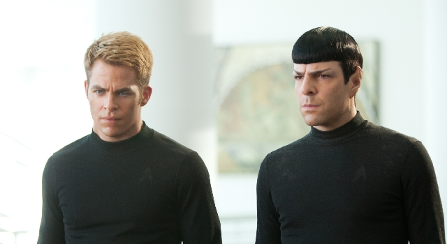 """The Enterprise crew has plenty to frown about as it finds Star Fleet under attack from within in """"Star Trek Into Darkness."""""""