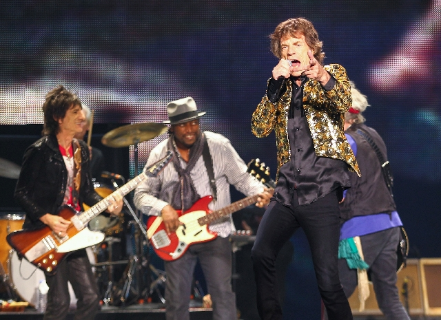 Rolling Stones frontman Mick Jagger performs with the band Saturday at the MGM Grand Garden.